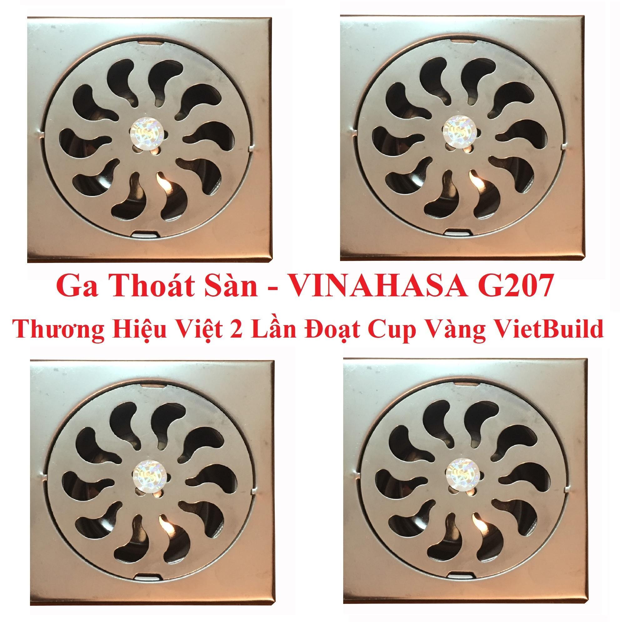 Bộ 4 ga thoát sàn – phễu thoát sàn INOX Vinahasa 10x10cm Phi 60mm Chống Hôi – Lọc Rác 2 lớp hiệu quả G207 (Bảo hành 12 tháng – 1 đổi 1 trong 7 ngày)