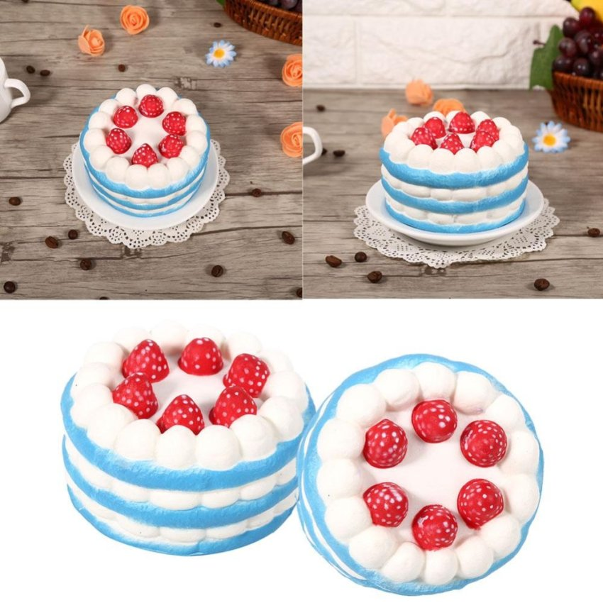 Hình ảnh 11.5cm Lovely Squishy Strawberry Cake Kids Toy Decoration (Blue) - intl