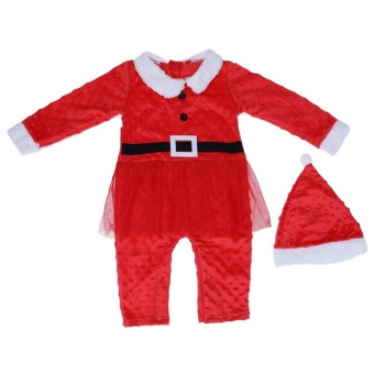 2pcs Baby Girls Christmas Long Sleeve Yarn Climbing Romper Jumpsuit + Hat - intl