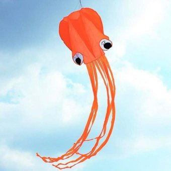 4m Orange Single Line Octopus Fly Kite With Colorful Tassels (#4) - intl