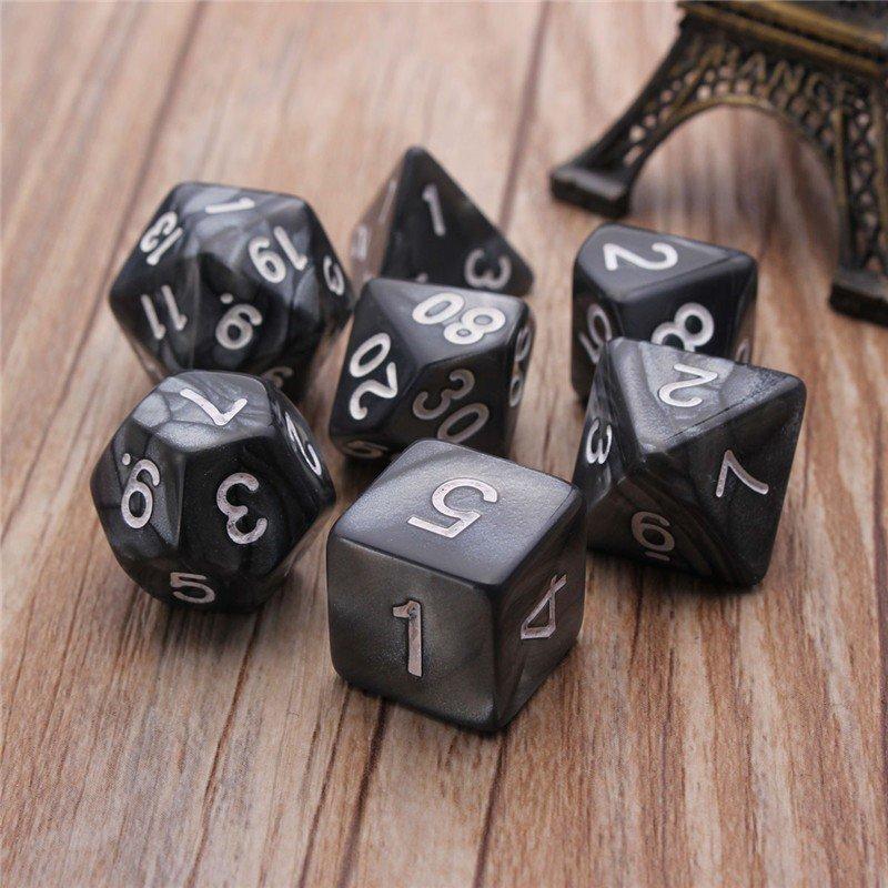 Hình ảnh Autoleader 7pcs/set D4-D20 Multi Sides Dice TRPG Games Dungeons & Dragons Opaque Pop Black - intl