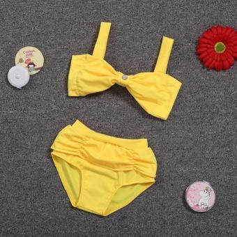 Baby Girl Tie Up Bikini Top and Bottom Swimwear Swimsuit SetsSize:2-3T - intl