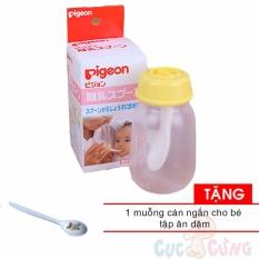 Giá bán Bình ăn bột Pigeon 120ml Tặng 1 thìa bằng nhựa ăn dặm cán ngắn
