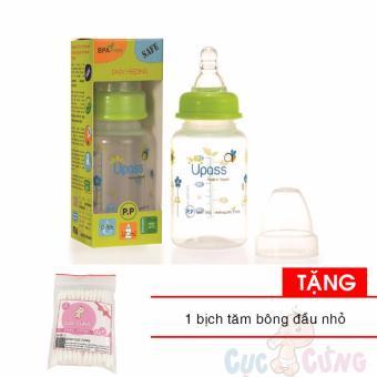 Bình sữa UPASS cổ thường 120ml nhựa PP Tặng 1 gói tăm bông đầu nhỏ