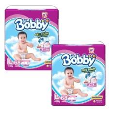 Bộ 2 gói Tã giấy Bobby siêu mỏng L68.
