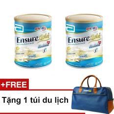 Bộ 2 lon Ensure Gold hương vani ít ngọt 850g + Tặng 1 túi du lịch