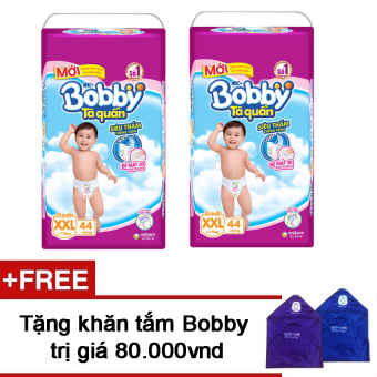 Bộ 2 tã quần Bobby XXL44 + Tặng 1 khăn tắm Bobby  đặc biệt