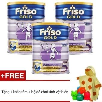 Bộ 3 sữa bột Friso Gold 5 1500g + Tặng khăn tắm và bộ đồ chơi sinhvật biển