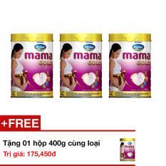 Bộ 3 Sữa bột Optimum Mama Gold - Hộp thiếc 900g + tặng 1 hộp 400g cùng loại