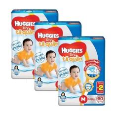 Bộ 3 tã quần Huggies Dry Pants Big Jumbo M60 60 miếng/ gói (5-10kg) + Tặng 2 miếng tã quần/ gói