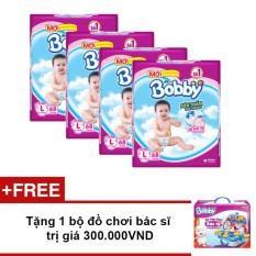 Bộ 4 Tã giấy Bobby siêu mỏng L68 + Tặng 1 bộ đồ chơi bác sĩ trị giá 300.000VND