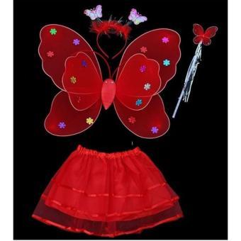Bộ cánh bướm thiên thần kèm chân váy cho bé yêu(đỏ)