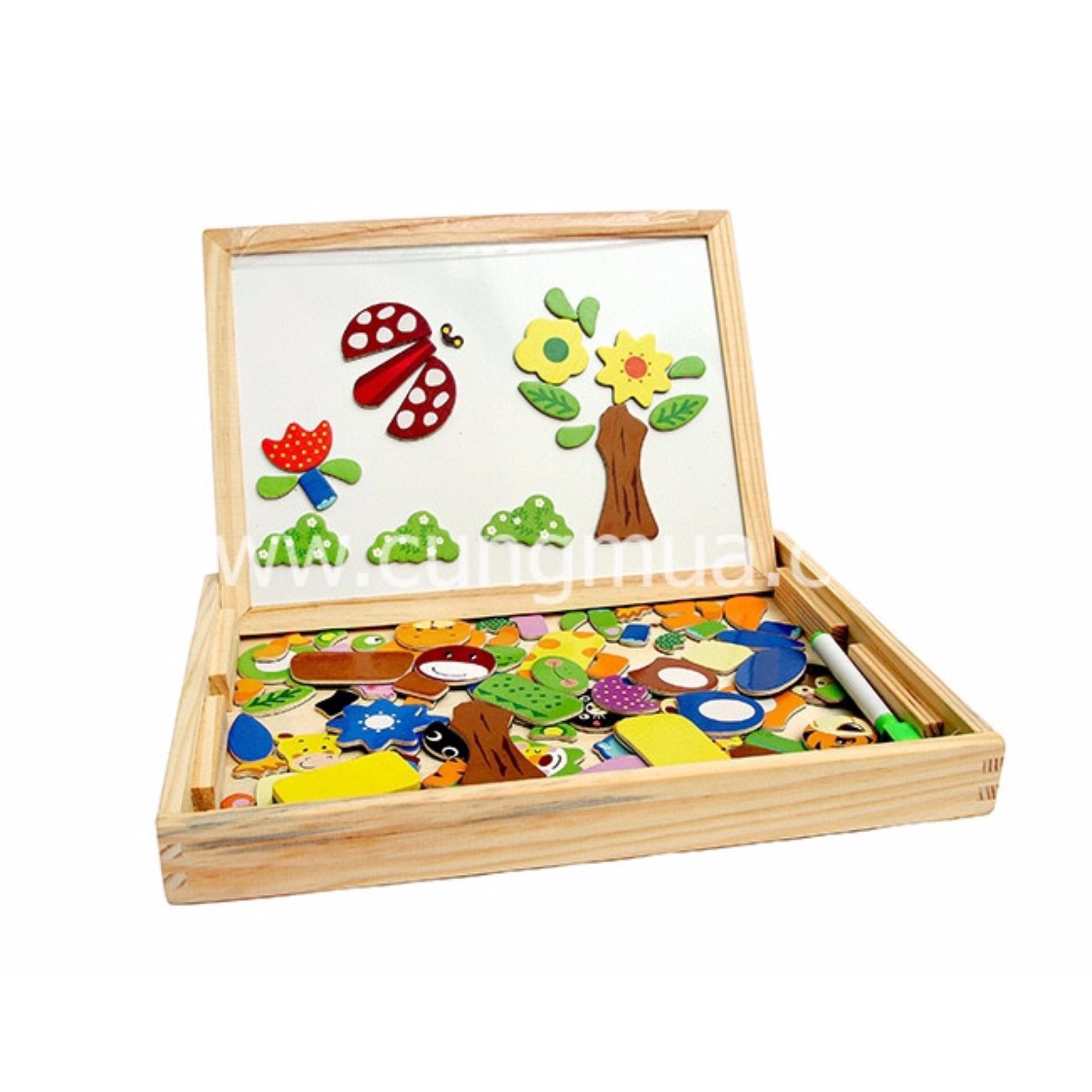 Bảng giá Bộ đồ chơi ghép hình dính nam châm + tặng móc khóa con gà