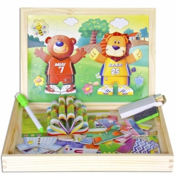 Bộ đồ chơi nghép hình và bảng viết bằng gỗ gắn nam châm