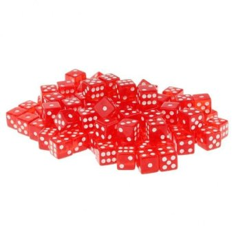 BolehDeals 100 x Translucent 16mm Six Sided Spot Dice RPG Games Red- intl