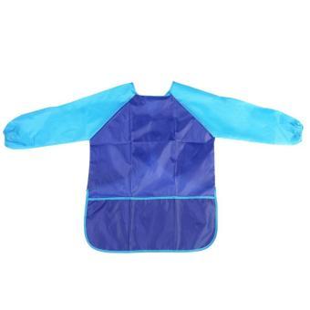 Children Kids Waterproof Long-sleeved Art Smock Painting Apron(Blue)