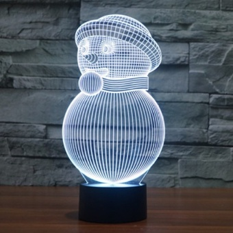 Christmas gifts 3D snowman colorful touch lamp LED NightFestivalSeries - intl
