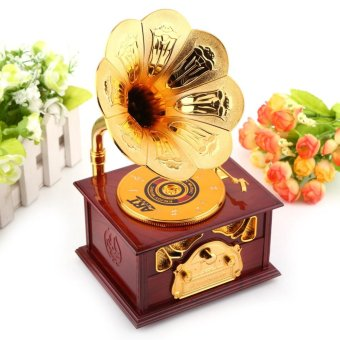 Classic Trumpet Horn Gramophone Art Music Box Retro Home Decor(Brown) - intl