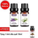 Combo 2 tinh dầu thiên nhiên MELAS oải hương lavender 10ml và hoa nhài 10ml + tặng 1 tinh dầu quế 10ml
