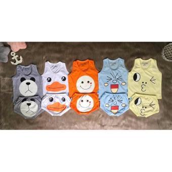 Combo 5 bộ áo ba lỗ quần đáy ngang (màu) (6-36 tháng)