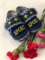 Giày tập đi đế bệt vải Jean - Baby Sport (Xanh Navy)