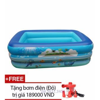 Bể bơi Summer 3 tầng cho bé loại 130cmx85cmx55cm + Tặng bơm điện (Xanh)