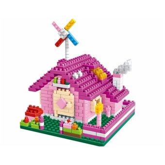 Bộ đồ chơi xếp hình 3D biệt thự hồng