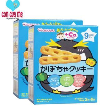 Bộ 2 hộp bánh ăn dặm Wakodo bổ sung Canxi vị bí ngô cho bé 9m+ 18356