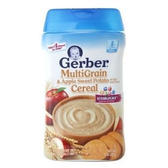Bột ăn dặm ngũ cốc vị táo khoai lang Gerber Cereal 227g