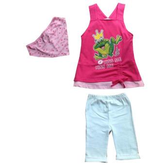 Bộ trang phục bé gái 3 món DB025 (Họa tiết chú ếch)
