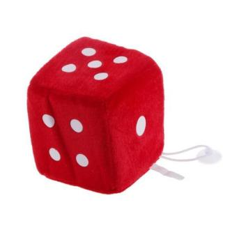 BolehDeals 4 inch Plush Dice Car/Window Hanger Soft Stuffed Toy with Sucker - Red - intl