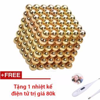 Bọ xếp hình nam châm thông minh Buckyball Tròn (Màu Gold 5mm) + Tặng nhiệt kế điện tử