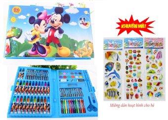 Bộ chì màu 86 món Family Plaza( Mickey)+Tặng kèm 3 vỉ dán hoạt hình