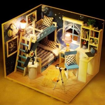Mô hình nhà gỗ DIY có đèn - Căn gác mái