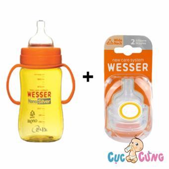 Combo bình sữa wesser cổ rộng 260ml + ty bình sữa 2 cái/vỹ cùng size