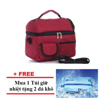 Túi giữ nhiệt cao cấp 2 ngăn (Đỏ rượu vang) + Tặng 2 đá khô
