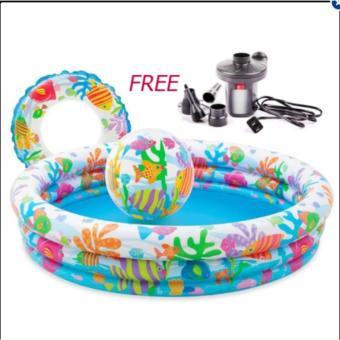 Bộ bể bơi 3 tầng kèm phao và bóng cho bé-FREE 01 bơm điện trị giá 99k