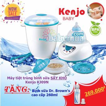 Máy tiệt trùng bình sữa sấy khô Kenjo KJ09N (Trắng) + Tặng bình sữa Dr Brown 260ml
