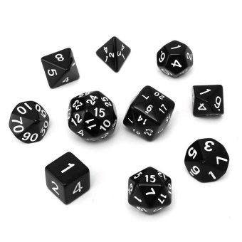 10pc/Set D4-D30 Multi-sided Dices TRPG Games Gaming Dices Acrylic Black - intl