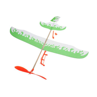 DIY Assembly Airplane Aircraft Model Launched Powered By Rubber Band Green - Intl