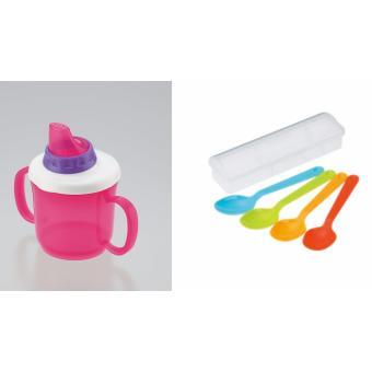 Bộ ly tập uống nước và muỗng 4 màu cho bé