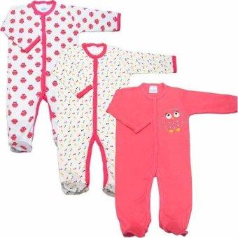 Bộ 3 áo liền quần liền vớ bé gái từ 3 tháng đến 12 tháng Baby Gear (Mẫu cú)