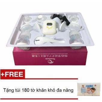 Máy hút sữa điện đôi Kichilachi tặng kèm túi 180 tờ khăn khô đa năng