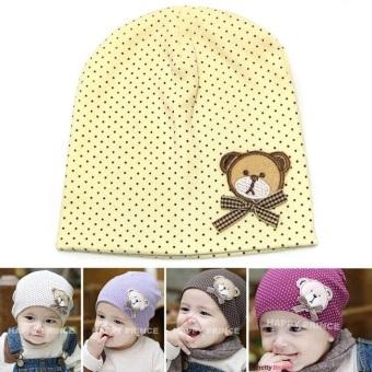 Mũ chấm bi cotton cho bé (Vàng)