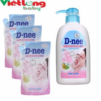 Bộ 1 chai nước rửa bình sữa D-nee 500ml + 3 túi nước rửa bình sữa D-nee x 400ml