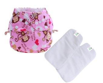 Bộ tã vải kèm 2 miếng lót BabyCute ban ngày cho bé size M (8-16 kg) Monkey