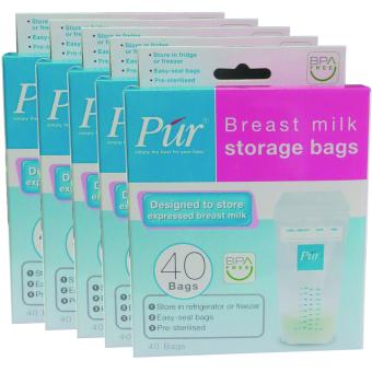 Bộ 5 hộp x 40 túi trữ sữa Púr