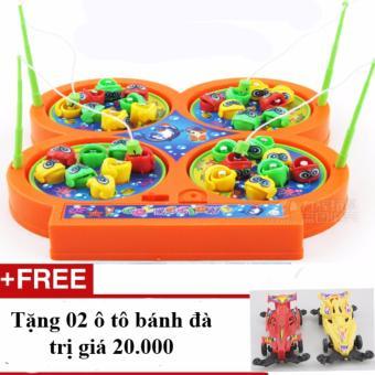 Bộ đồ chơi câu cá 4 hồ cho bé phổ biến trên ở nhà trẻ + Tặng 02 ô tô bánh đà(Hồng)