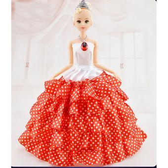 Búp bê 12 Khớp Váy Đỏ Chấm Bi Tặng kèm 3 Váy Ngắn