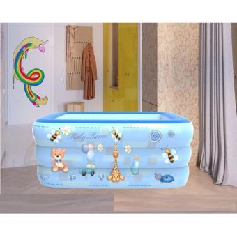 Bể bơi phao 3 tầng cho bé size 130x85x55cm - Mẫu mới 2017 (Xanh dương)
